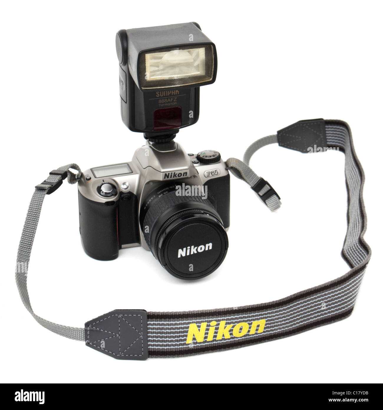 Nikon F65 35mm SLR film camera with Sunpak 888AFZ Thyristor Flashgun - Stock Image