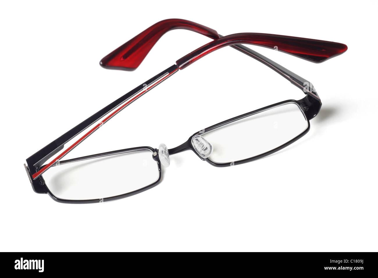 Fashionable eyeglasses on white background - Stock Image
