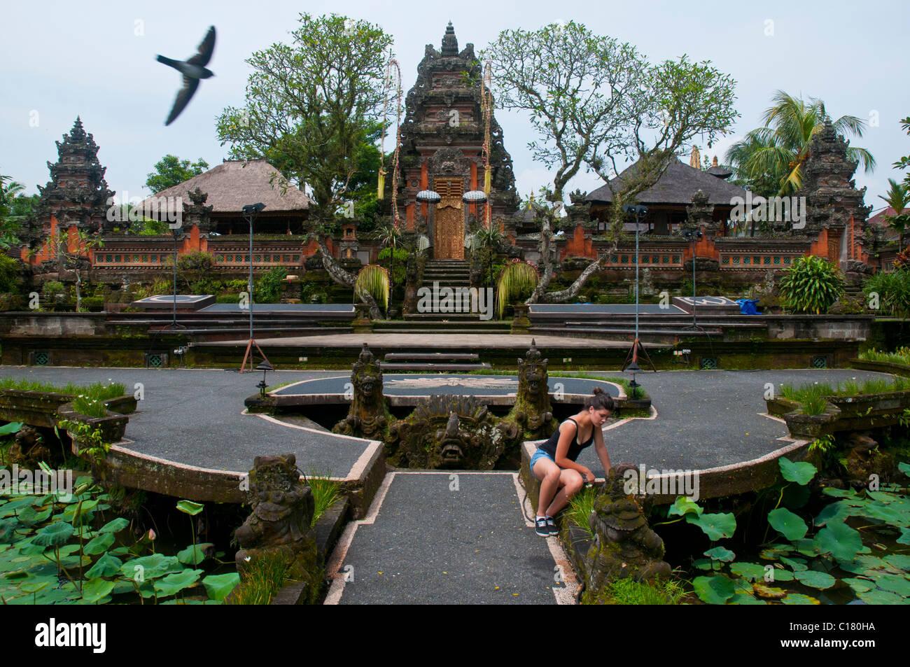 Pura Taman Saraswati Ubud Bali Indonesia - Stock Image
