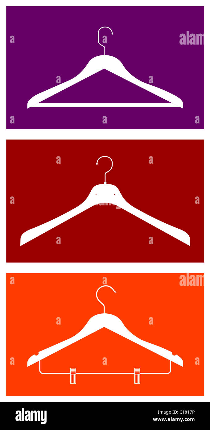 Three clothes hangers. Vector available - Stock Image