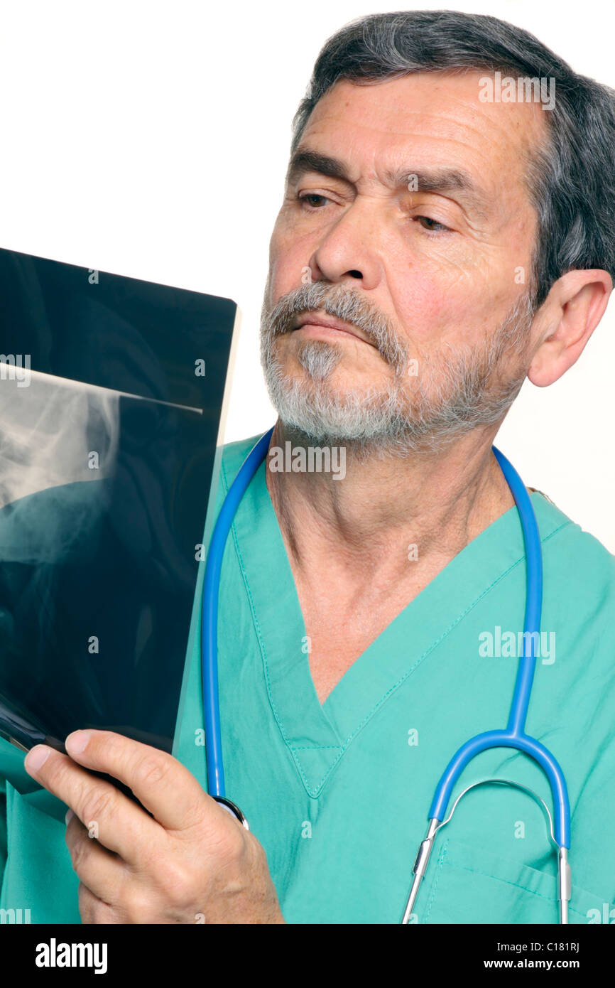 Medical Doctor reading Xray - Stock Image