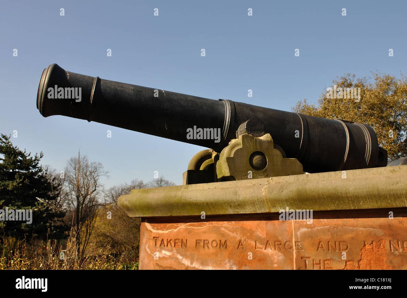 Sebastopol cannon in Arboretum Park, Nottingham, England, UK - Stock Image