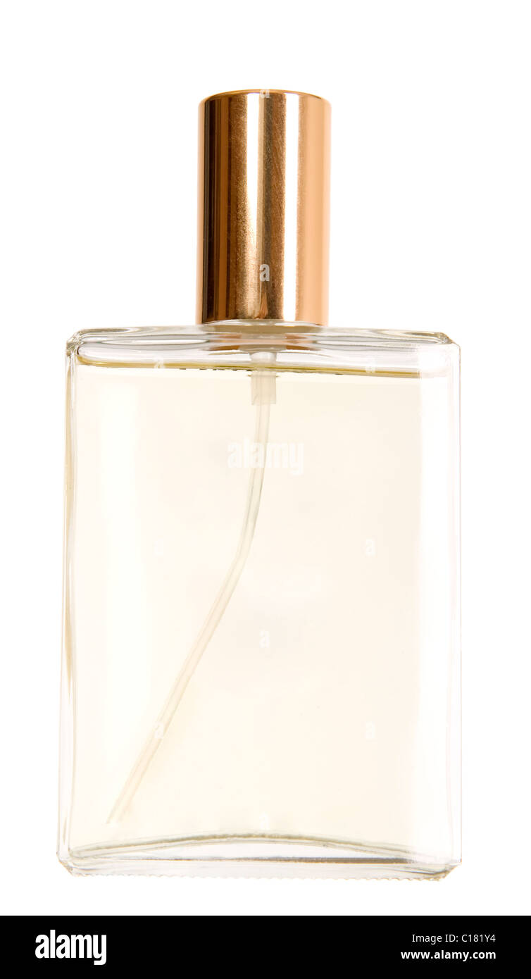 There is a bottle of perfume with golden cork Stock Photo
