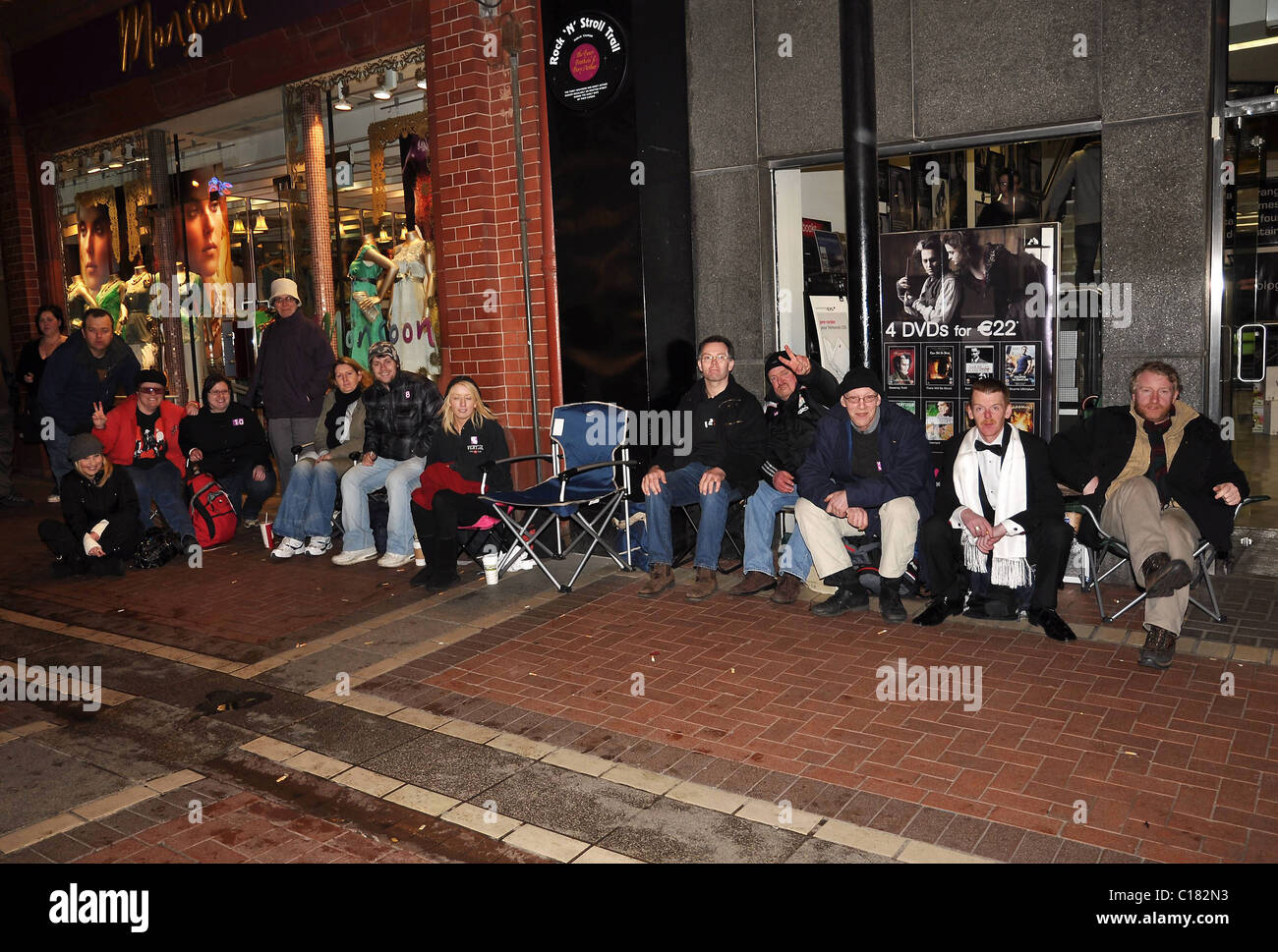 U2 fans queue outside HMV to be the first to get the bands
