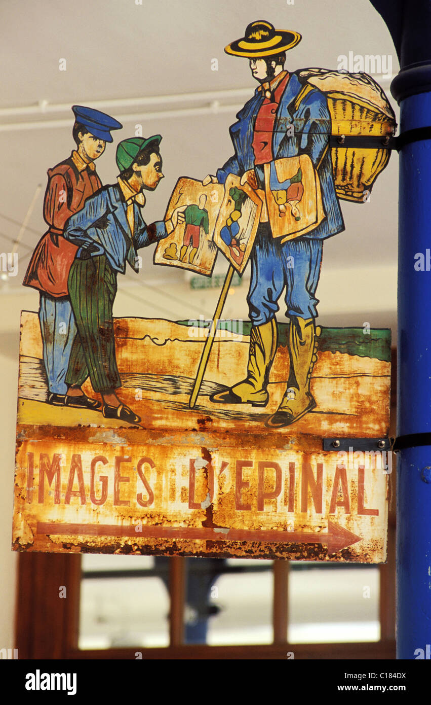 France, Vosges, Epinal, Epinal iconography, old sign, Pellerin image making - Stock Image