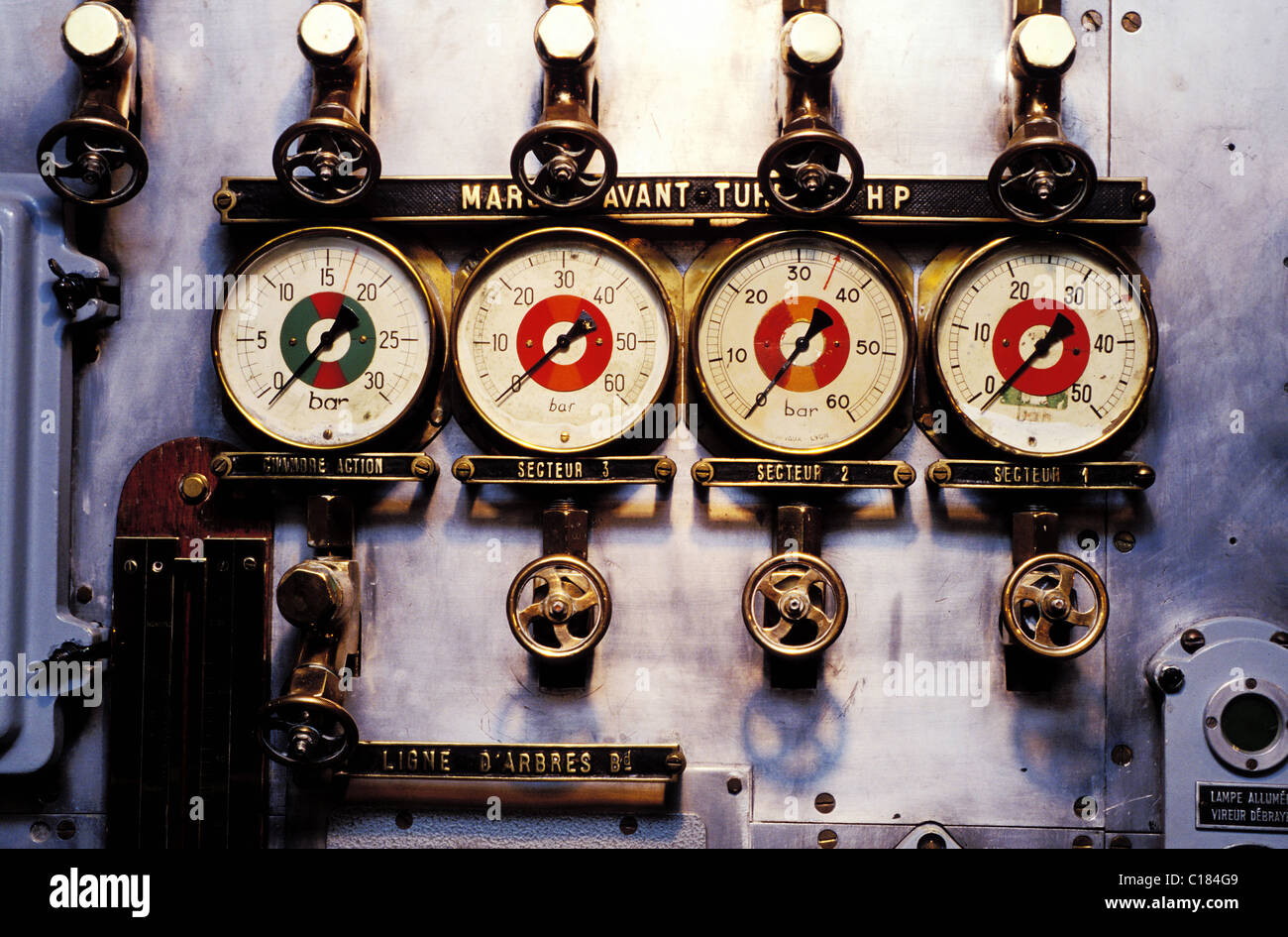 France, Finistere, Brest city, antique dials at the Navy Museum - Stock Image