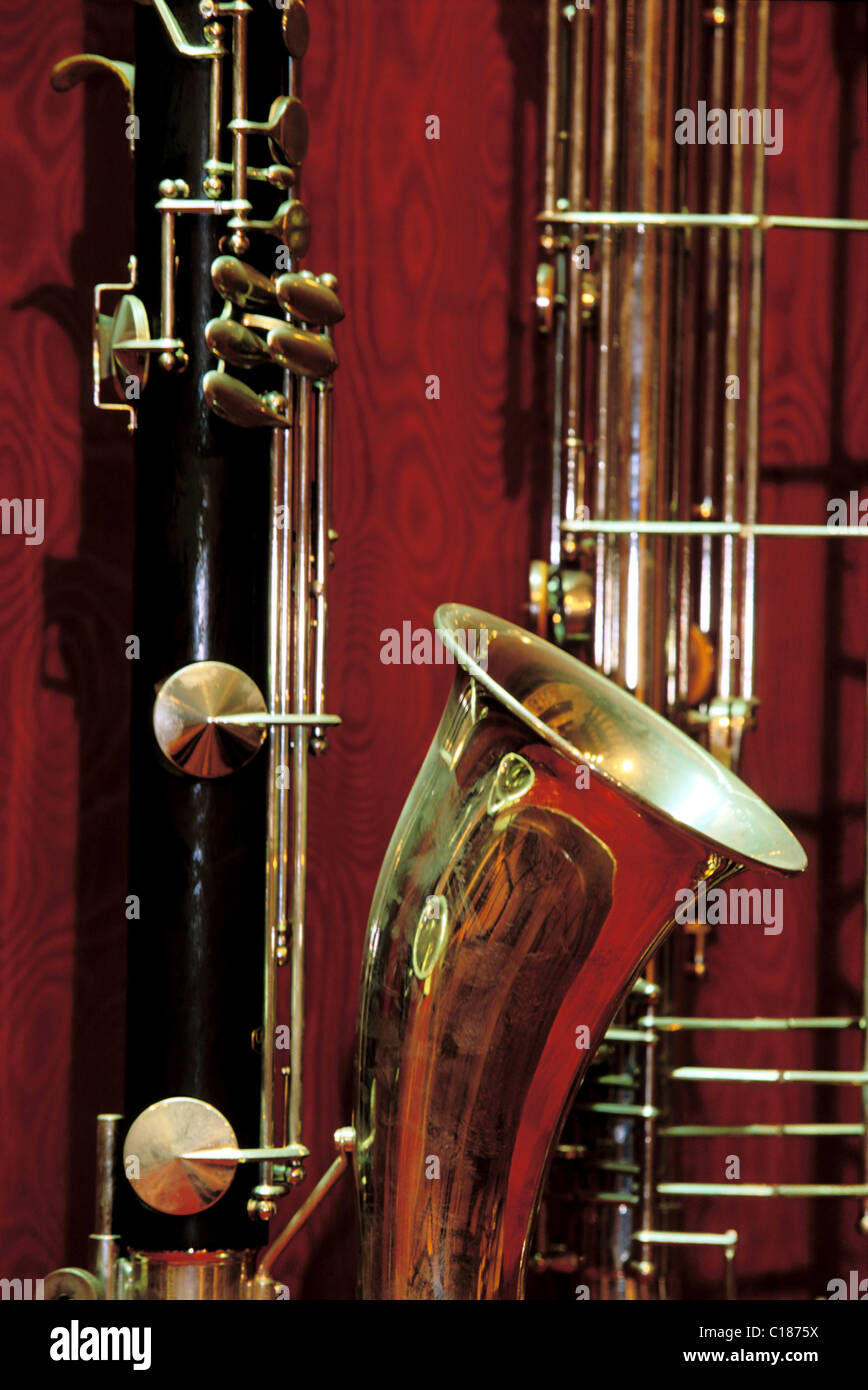 France, Eure, Couture Boussey, craft and industrial wind instrument museum - Stock Image