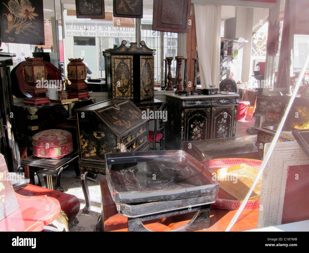 Paris, France, Old Chinese Antiques Store, furniture shop interior - Stock Image