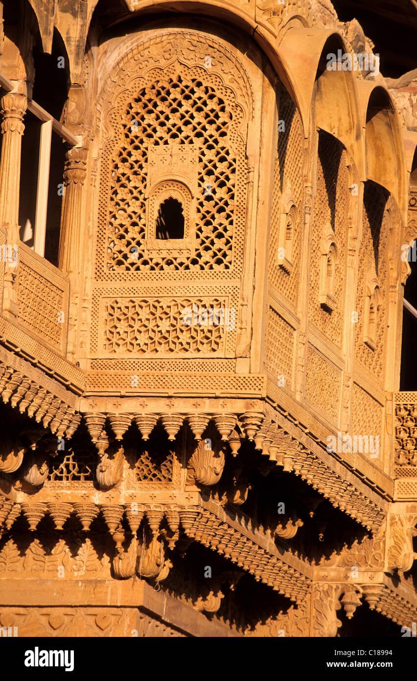 India, Rajasthan State, Jaisalmer fort, the Raj Mahal Palace, old royal palace - Stock Image