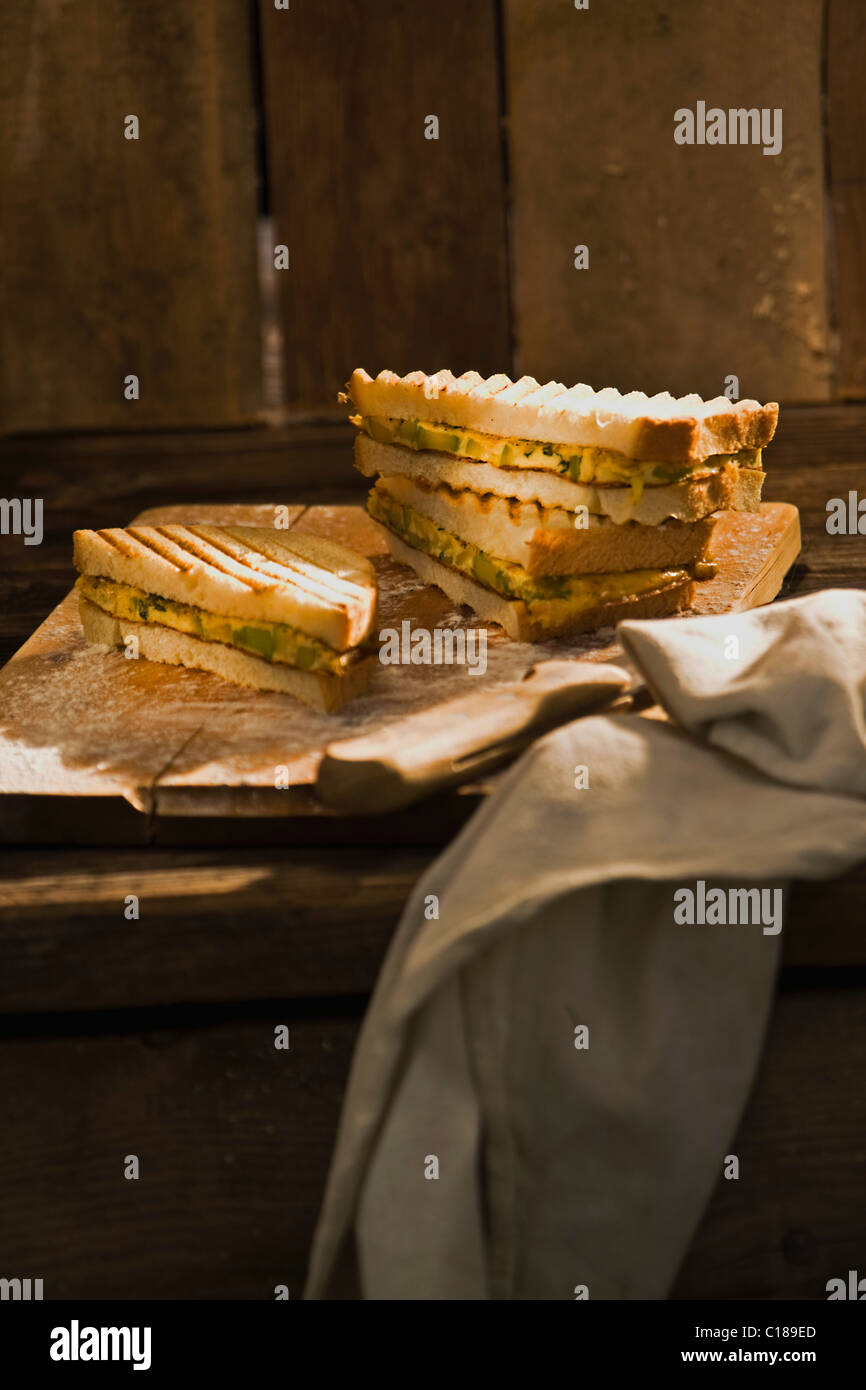 Zucchini omelet sandwich Stock Photo