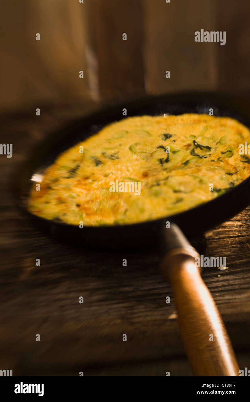Zucchini omelet - Stock Image