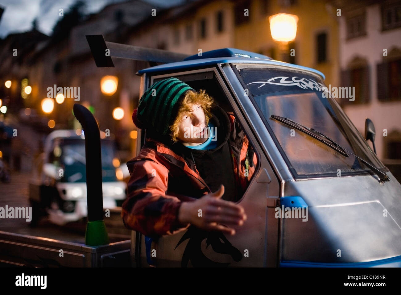 Young moped rider - Stock Image