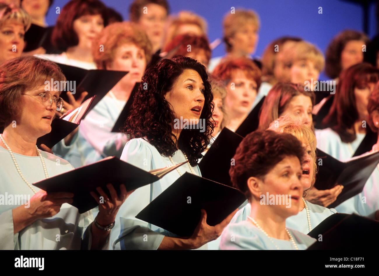 United States, Utah, Salt Lake City, Mormon Choir at the Tabernacle - Stock Image