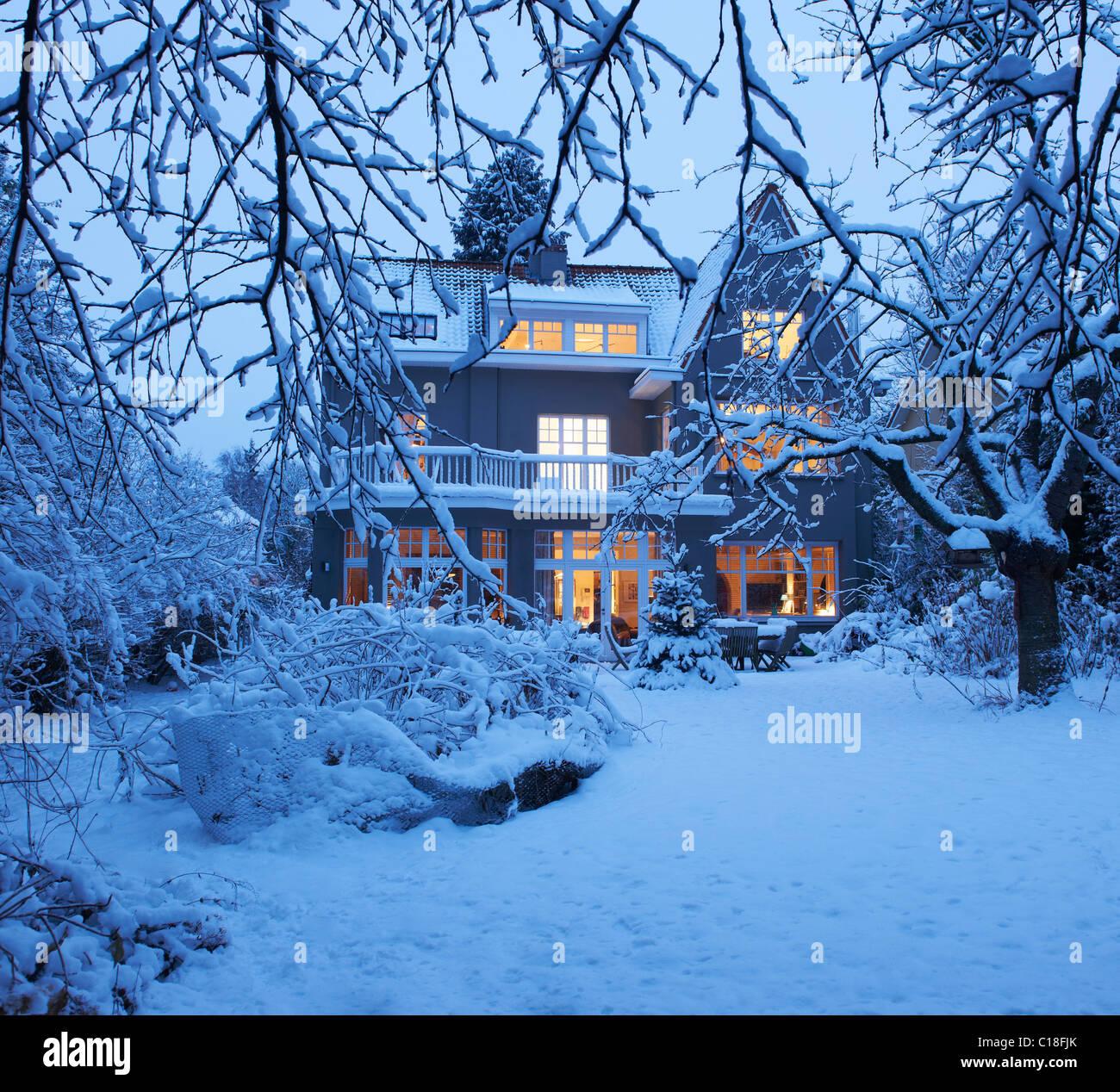 Beautiful villa under the snow - Stock Image