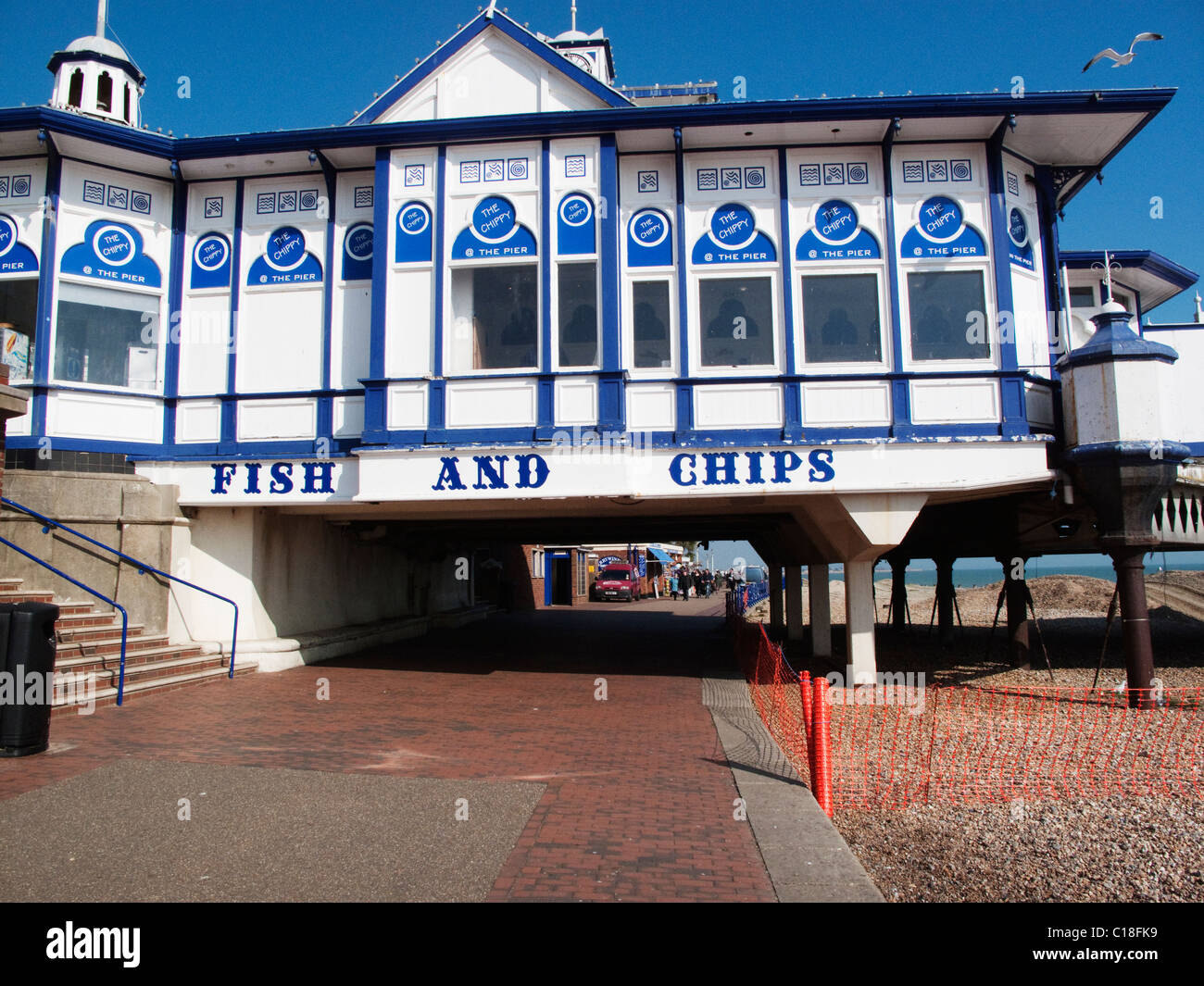 Fish and Chip shop on Eastbourne pier on the English Channel in East Sussex - Stock Image