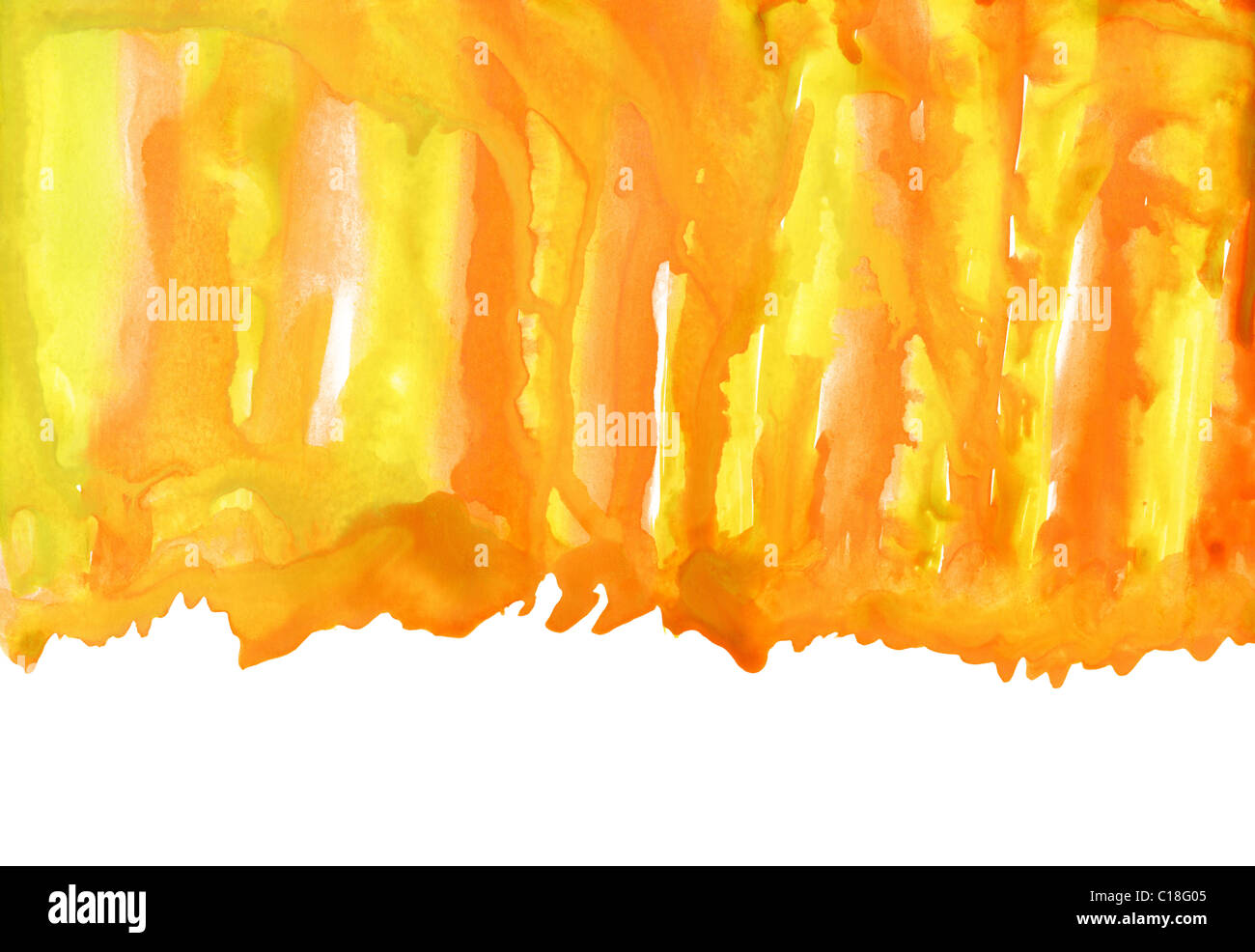 Abstract Orange Yellow And White Watercolor Background
