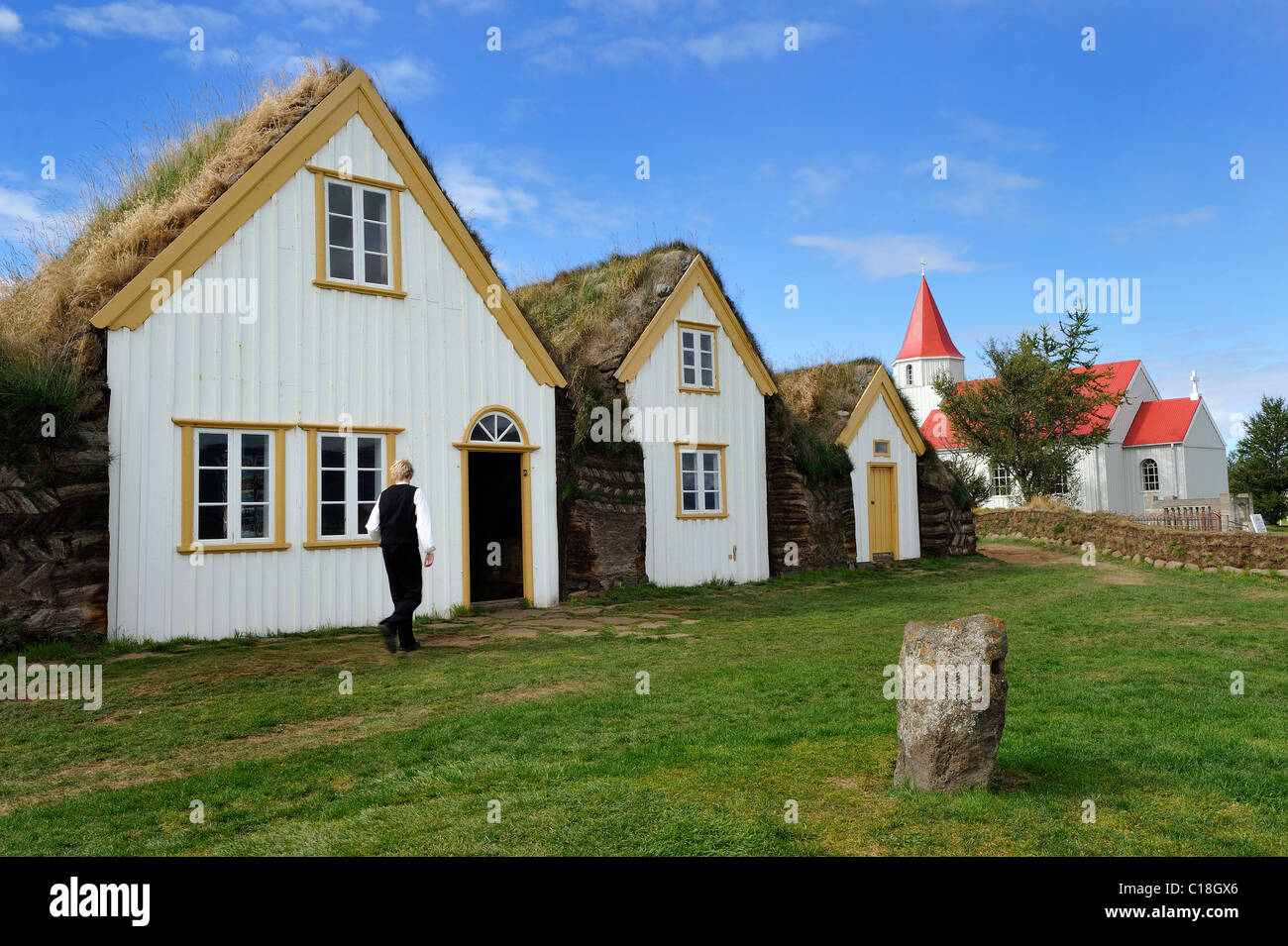 Museum courtyard Glaumbaer, open-air museum, sod yard, turf walls, grass roofs, wood facade, Iceland, Europe - Stock Image