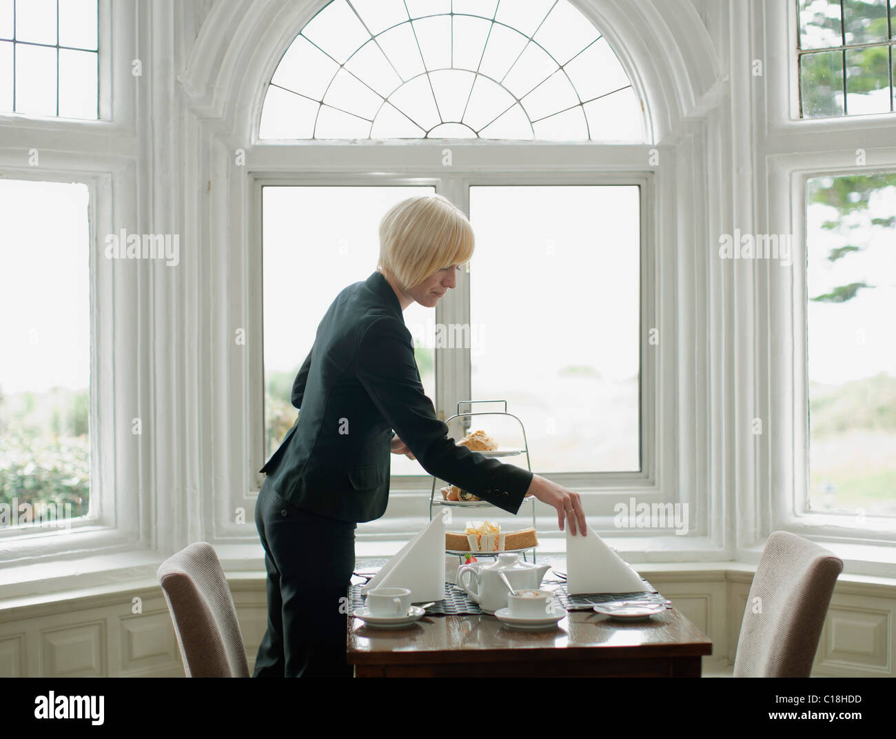 Woman Setting Up Table   Stock Image