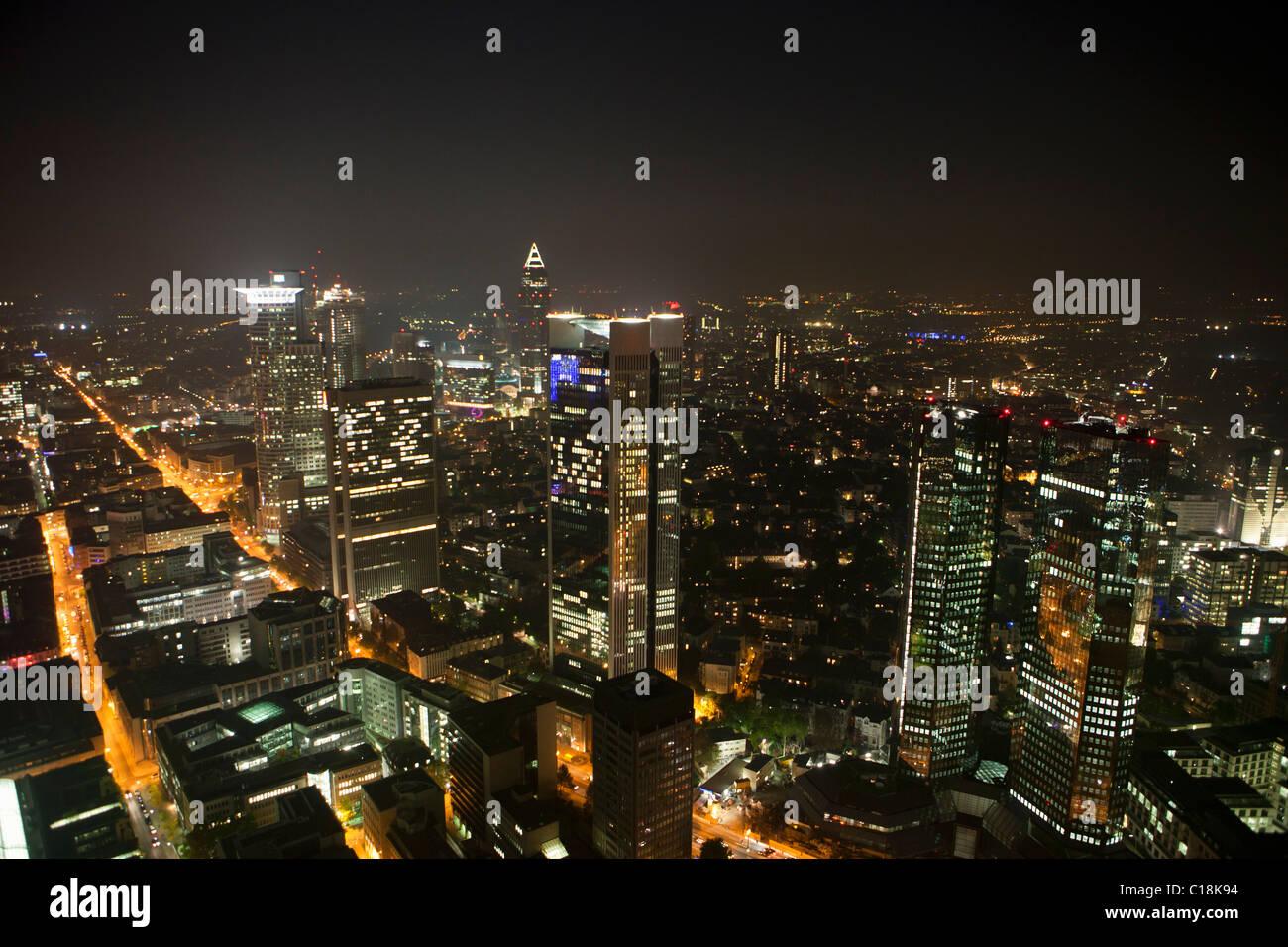 Frankfurt city skyline by night Stock Photo