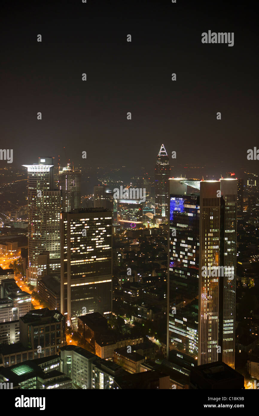 Frankfurt city skyline by night Stock Photo
