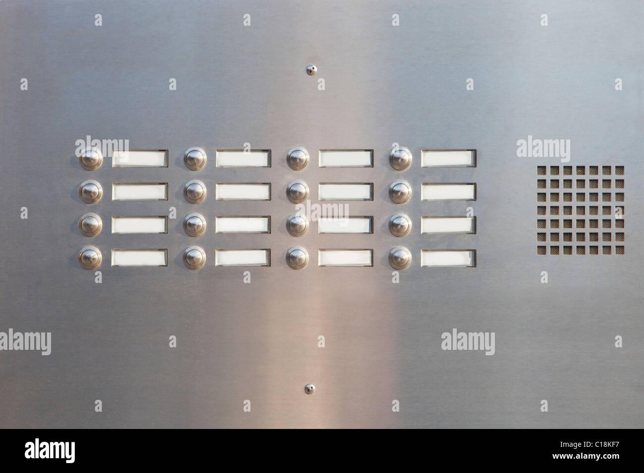 A panel of doorbells - Stock Image