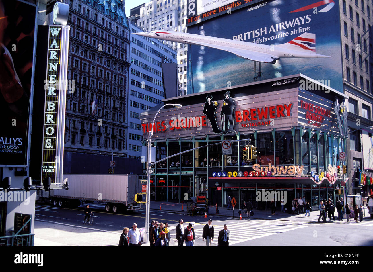 United States, New York City, Manhattan, Times Square, 42nd Street, restaurant and model of Concorde - Stock Image