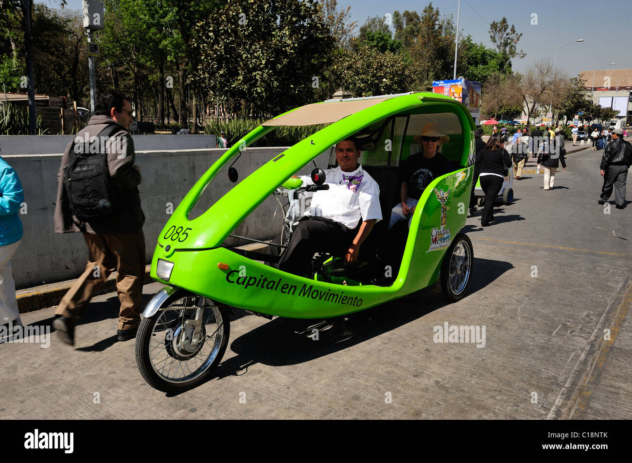 Colourful pedal taxi in Alameda District, Mexico City, Mexico - Stock Image