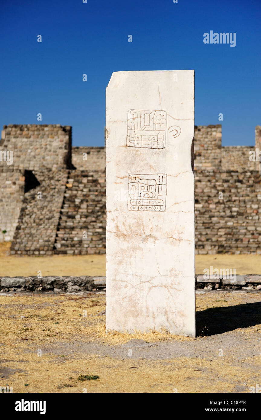 Plaza of the Two-Glyph Stela at Xochicalco in Morelos State, Mexico - Stock Image