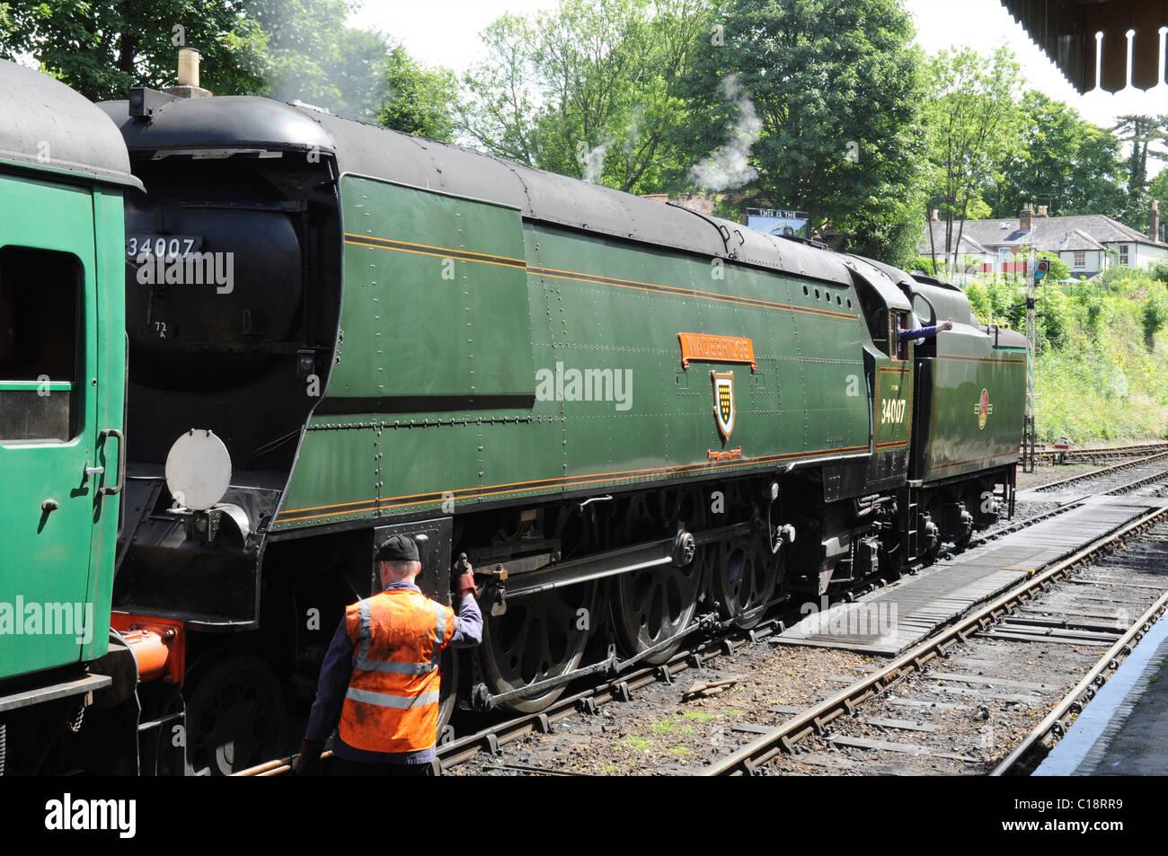 34007 >> Bulleid Pacific No 34007 Wadebridge On The Mid Hants Railway Stock