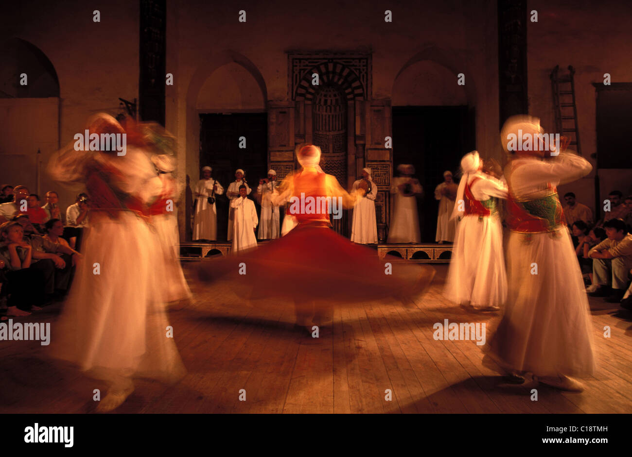 Egypt, Cairo, whirling or dancing dervish in the El-Ghouri Mausoleum - Stock Image