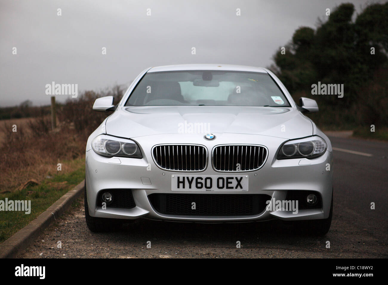 Silver BMW 5-Series Saloon Motor Car, F10 version introduced in ...