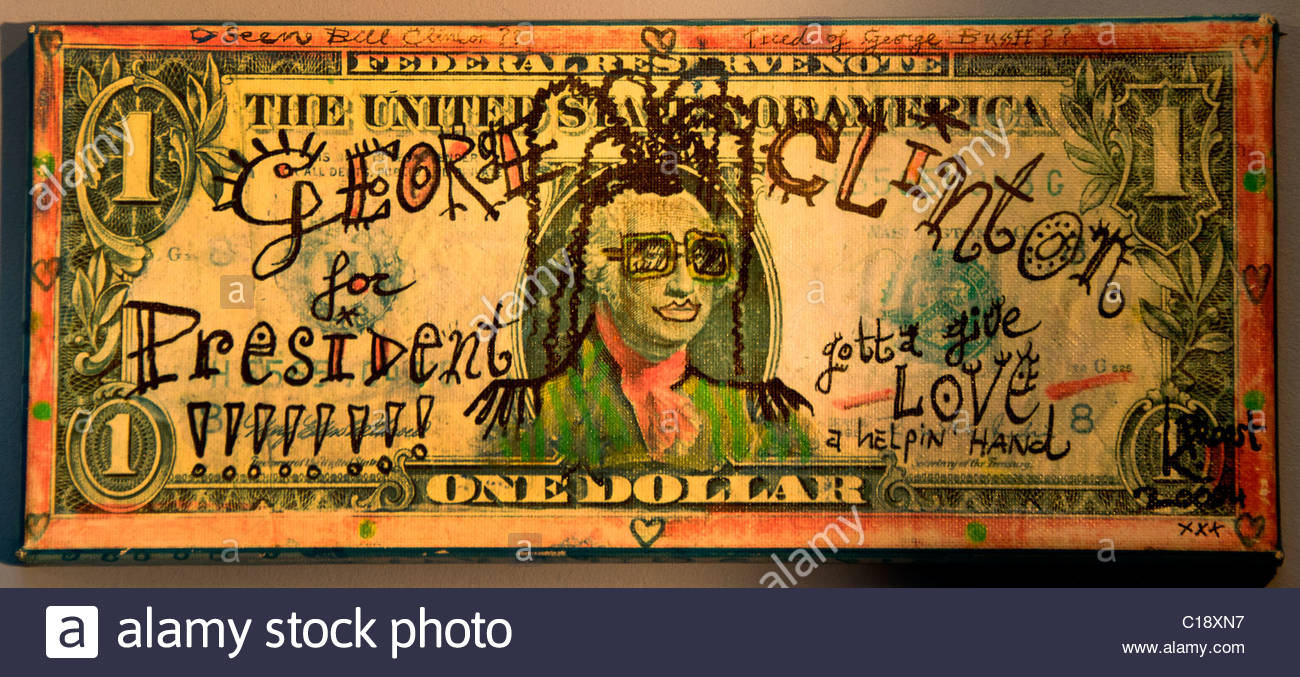 George Bush Bill Clinton President Dollar American Currency Green Money Painting Bill Art - Stock Image
