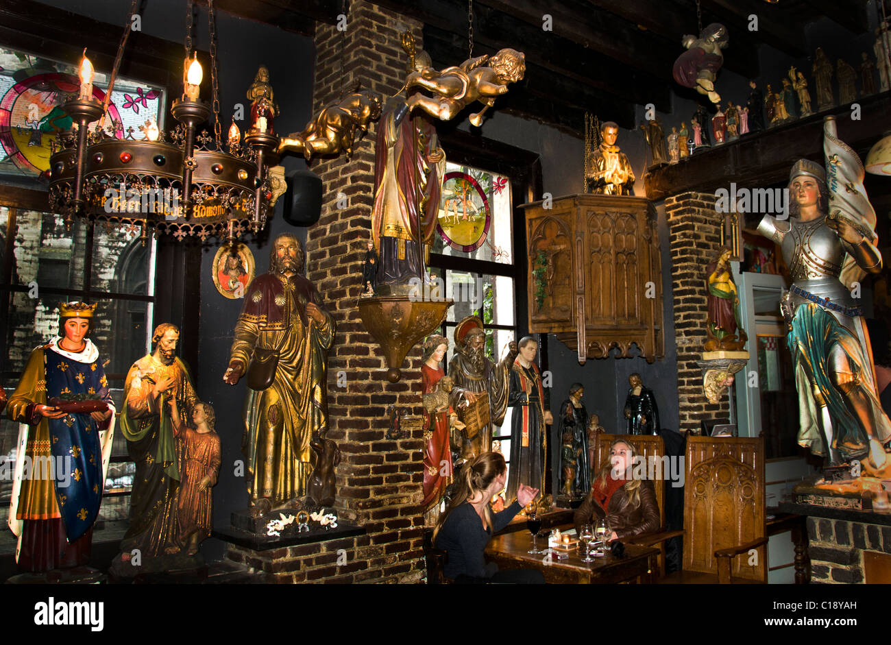 Antwerp bar Het Elfde Gebod The Eleventh Commandment 400 sacred images 16th century Cathedral Café Belgium - Stock Image