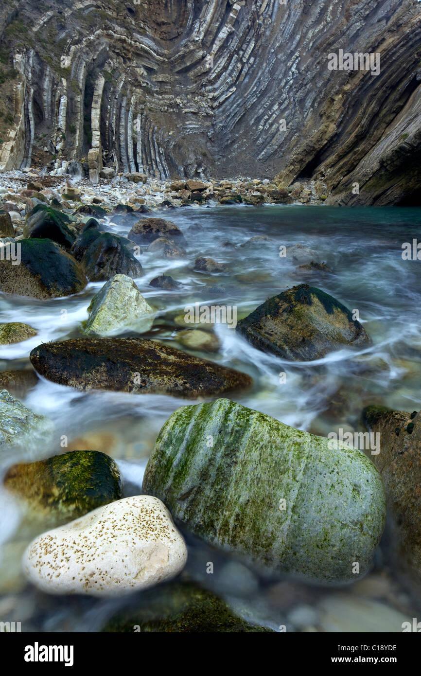 Folded limestone and shale, Lulworth Crumple,  Stair Hole, Lulworth, Jurassic Coast World Heritage Site, Dorset, - Stock Image