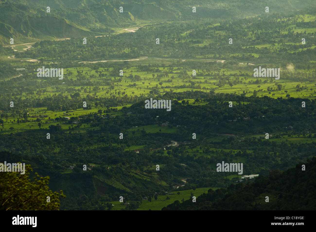 The landscape of Himachal Pradesh at the Himalayan foothils - Stock Image