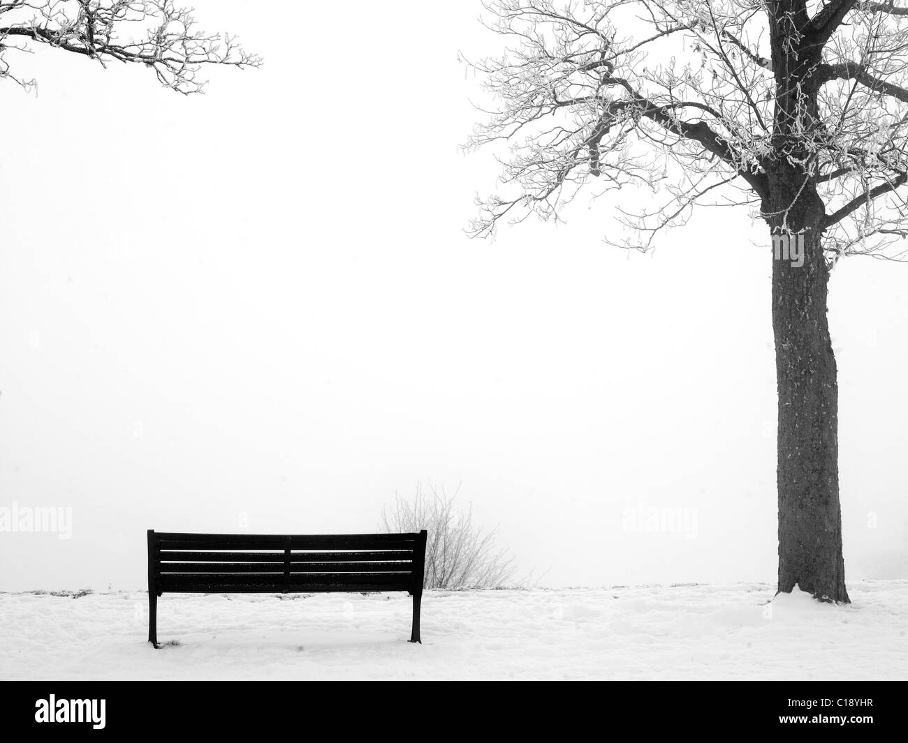 Bench in the snow. - Stock Image