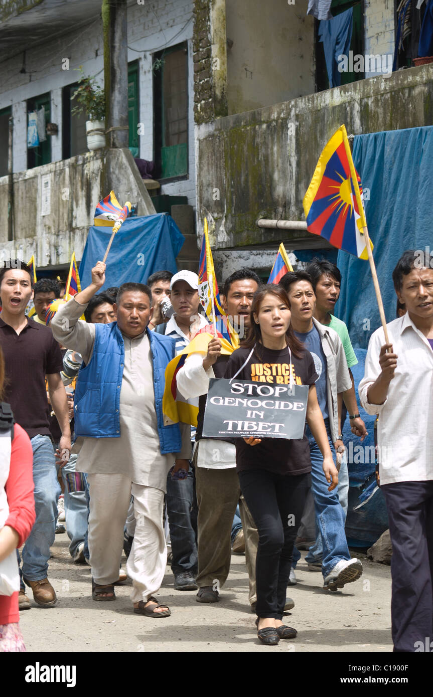 Tibetans on a protest in Dharamsala, India, during the Chinese Olympics - Stock Image