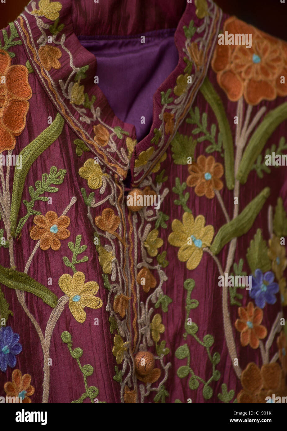 Detail of Kashmiri embroidery on traditional clothing - Stock Image