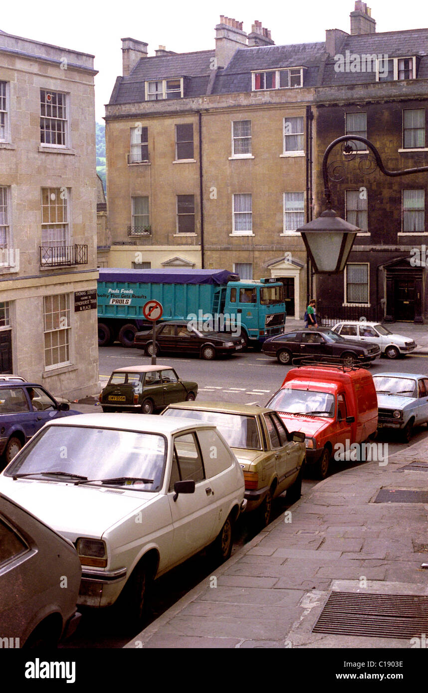 Cars parked in Thomas Street London Road Bath England 1988 - Stock Image