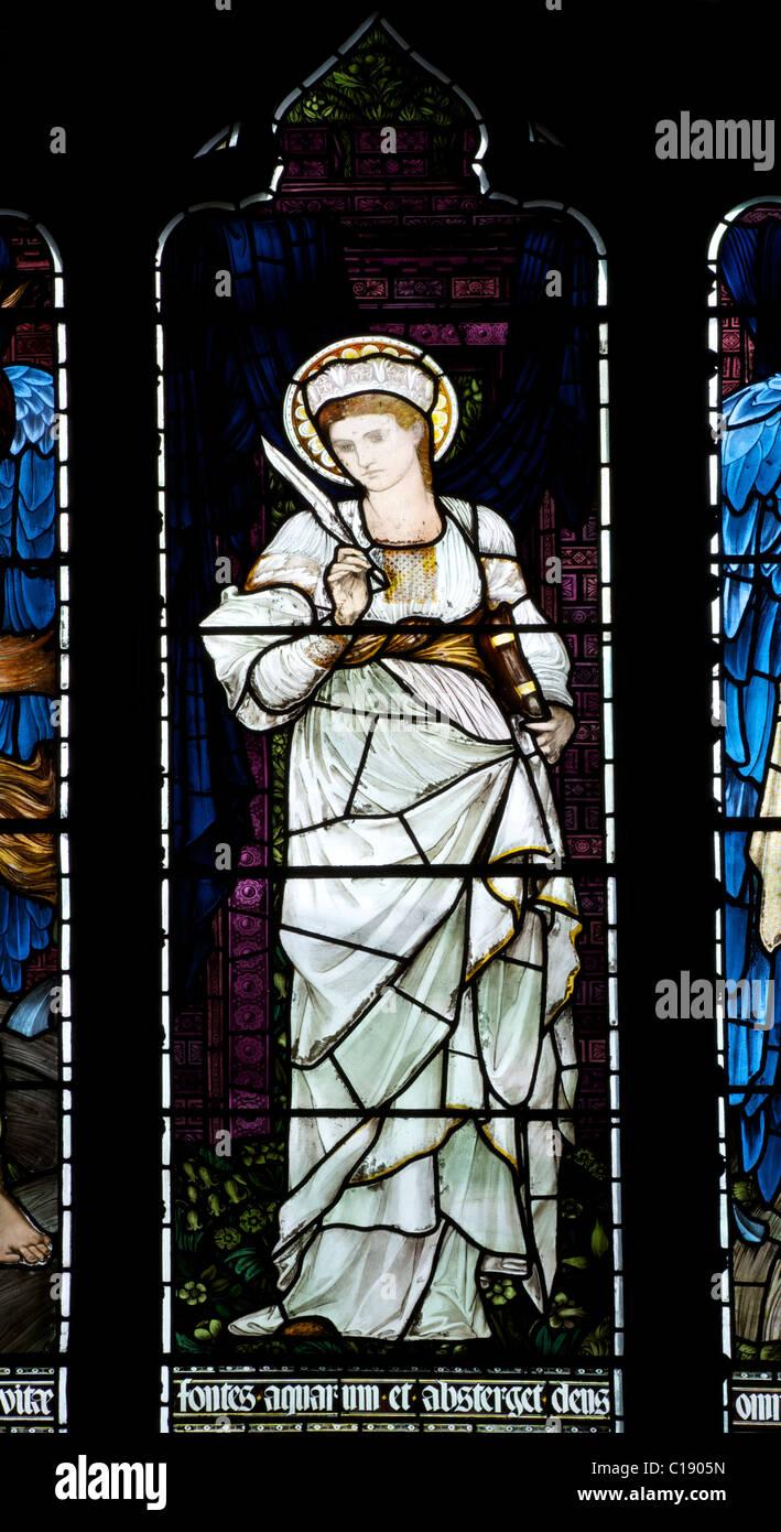 St Catherine Window, 1878, Edward Burne-Jones, Pre-Raphaelite stained glass windows, Christ Church Cathedral, Oxford - Stock Image