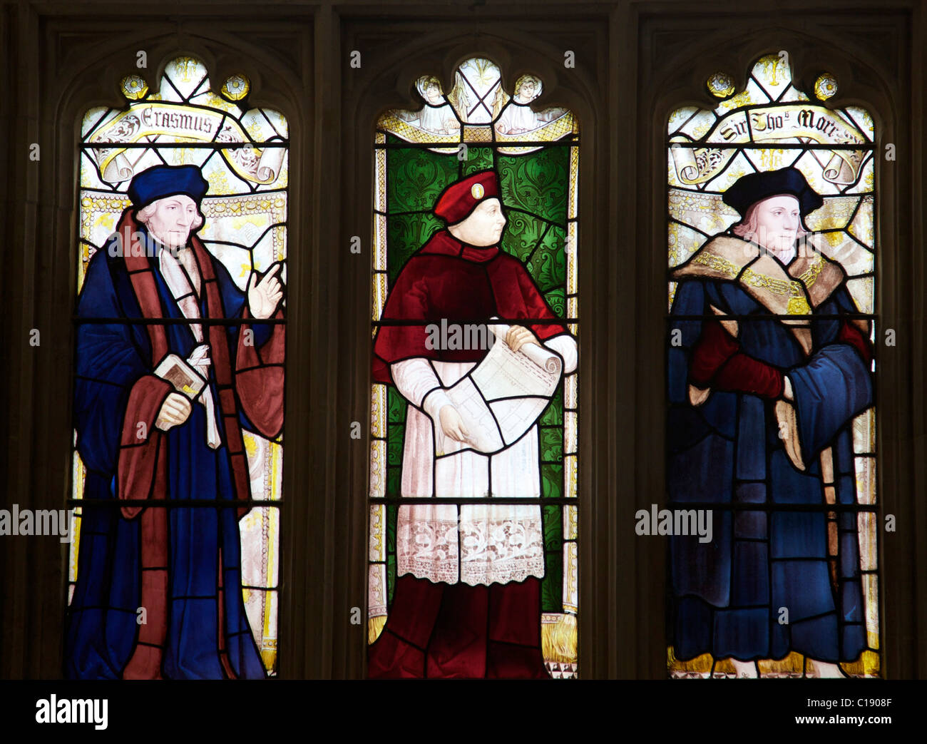 3e757554499 Stained glass panels of Erasmus, Cardinal Wolsey and Sir Thomas More, Great  Hall dining