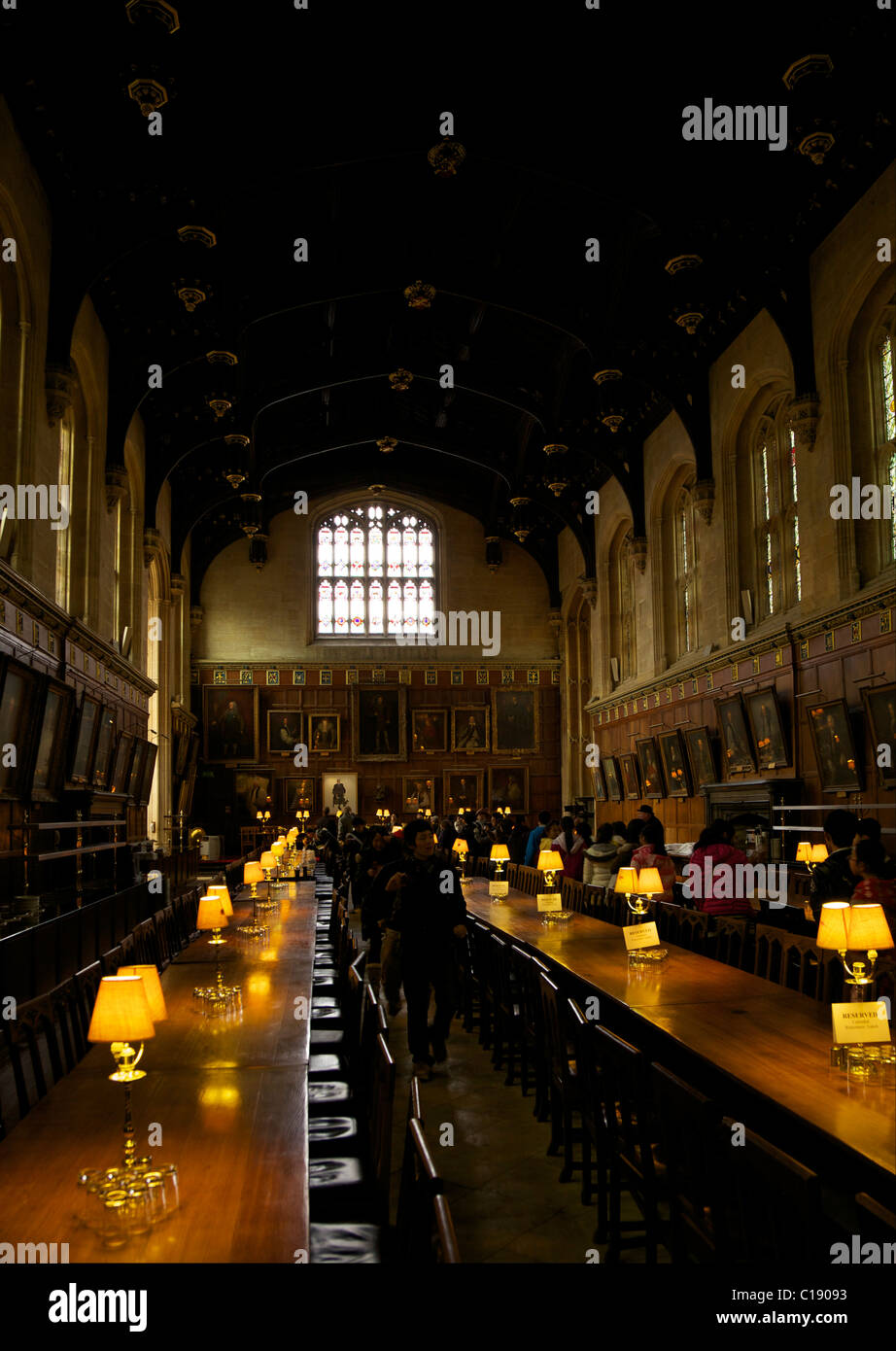 Great Hall, or, dining room, at Christ Church College, Oxford University,  Oxford, Oxfordshire, England, UK, United - Stock Image