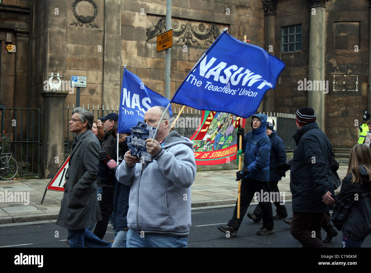 Protesters march against government cuts in Liverpool 11/12/2010 - Stock Image