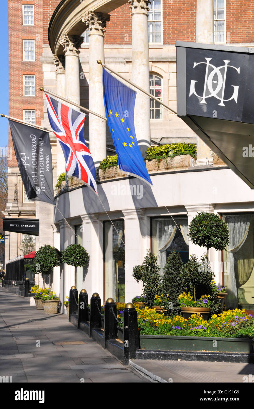 Grosvenor House Hotel luxury 5 star hotel in Mayfair Park Lane overlooking Hyde Park & managed by JW Marriott - Stock Image