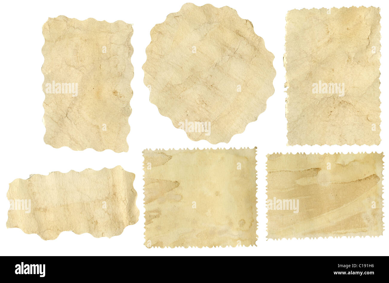 Six pieces of old paper on white background - Stock Image
