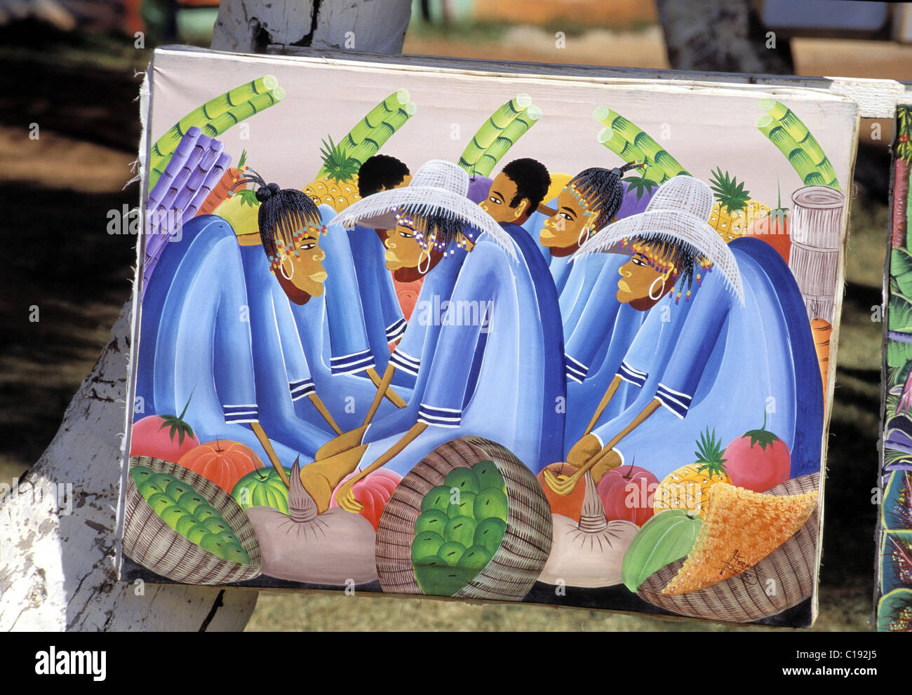 Dominican Republic, naive painting in the fishermen village of Las Galeras - Stock Image