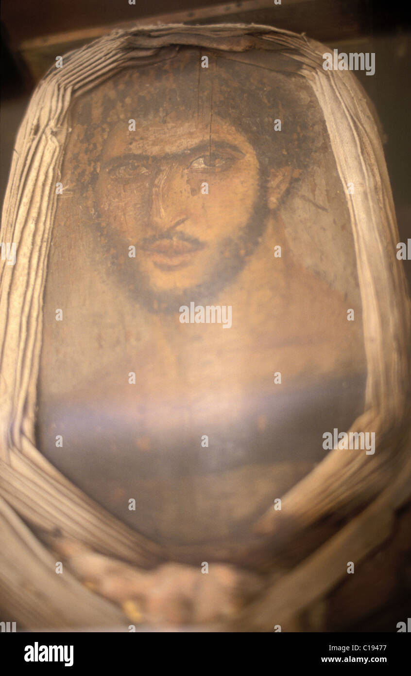 Egypt, Alexandria, Greek-Roman museum, portrait painted overthe mummy of a Roman, Fayoum 2nd Century Stock Photo