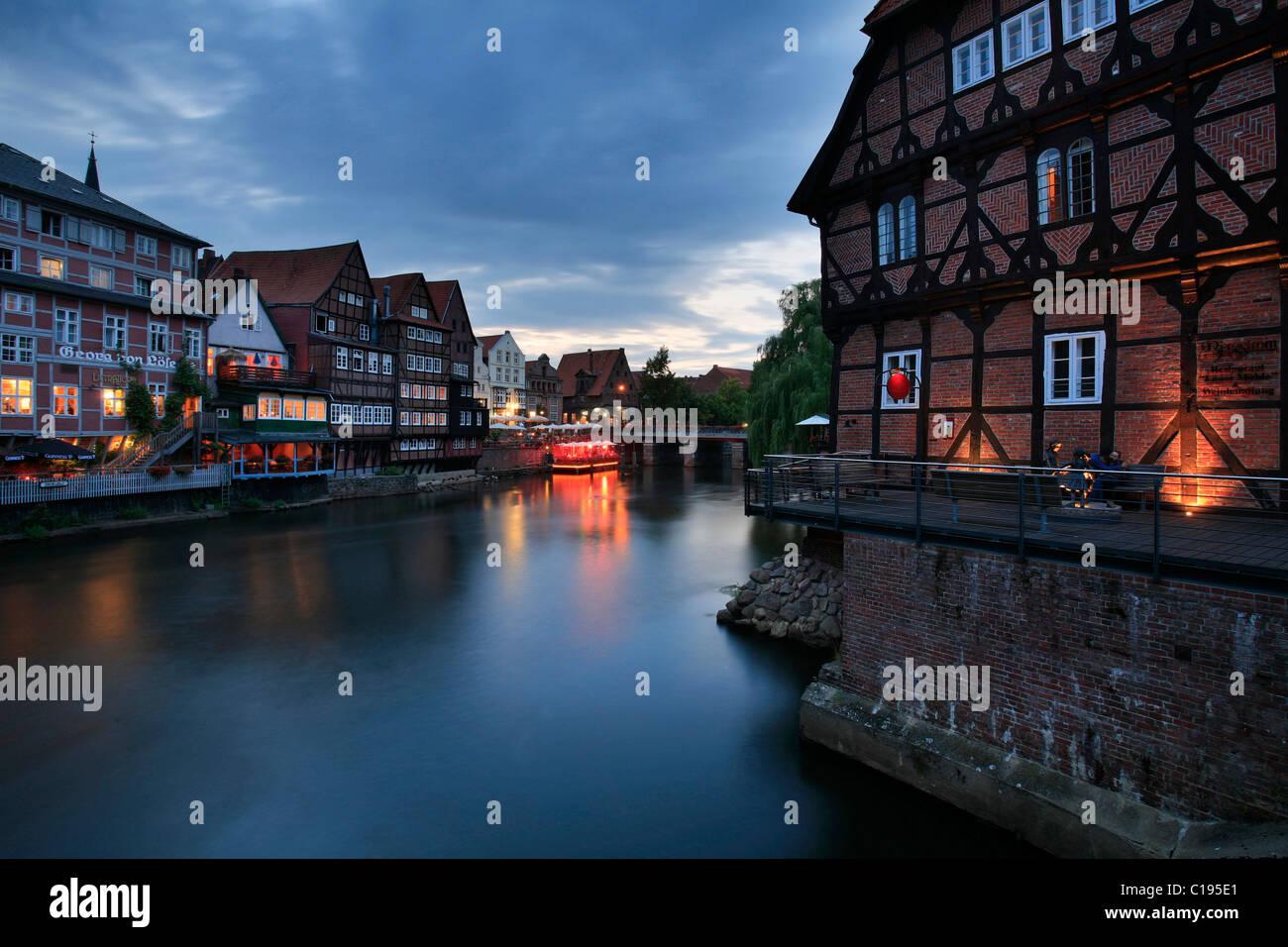 The Stintmarkt or Smelt Market on the Lueneburg harbor, Lower Saxony, Germany, Europe - Stock Image