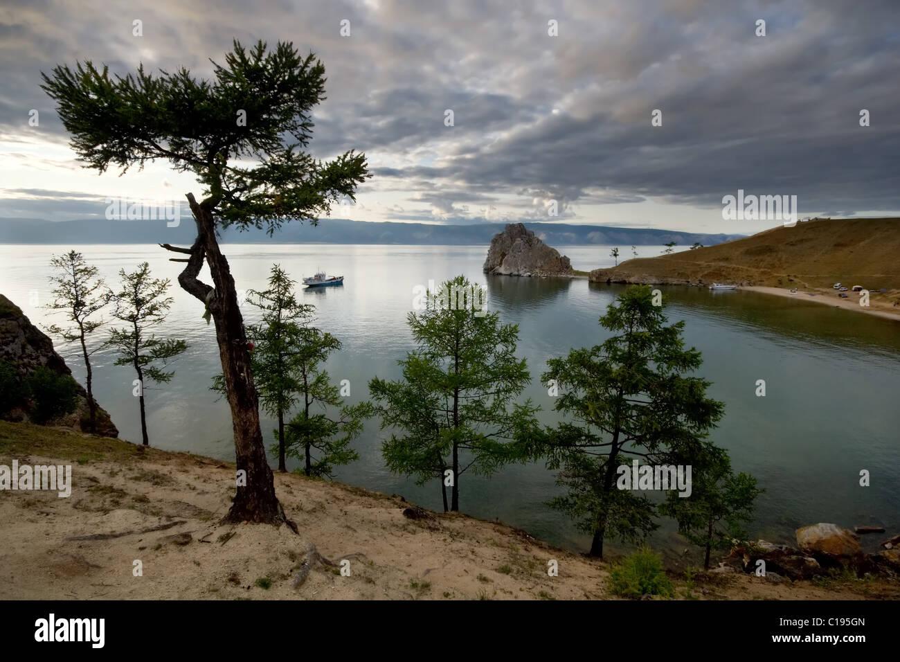 Nature landscape. Baikal lake. Cape Burkhan. Olkhon island. Siberia. Russia. - Stock Image
