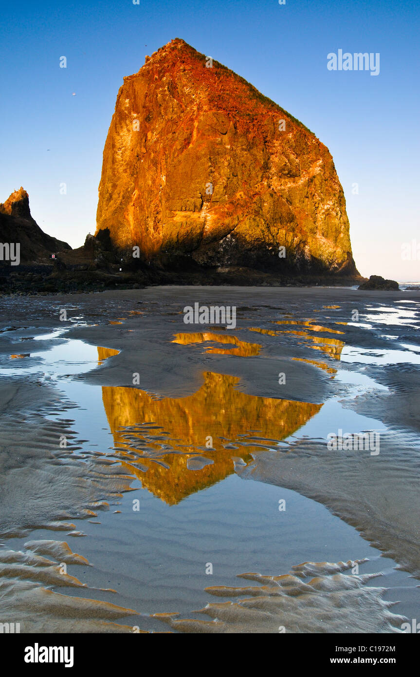 "Famous ""Haystack Rock"" monolith, solidified lava rock at Cannon Beach, tourist attraction, Clatsop County, Oregon, Stock Photo"
